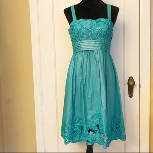 Adrianna Papell Teal Floral Dress Size 6